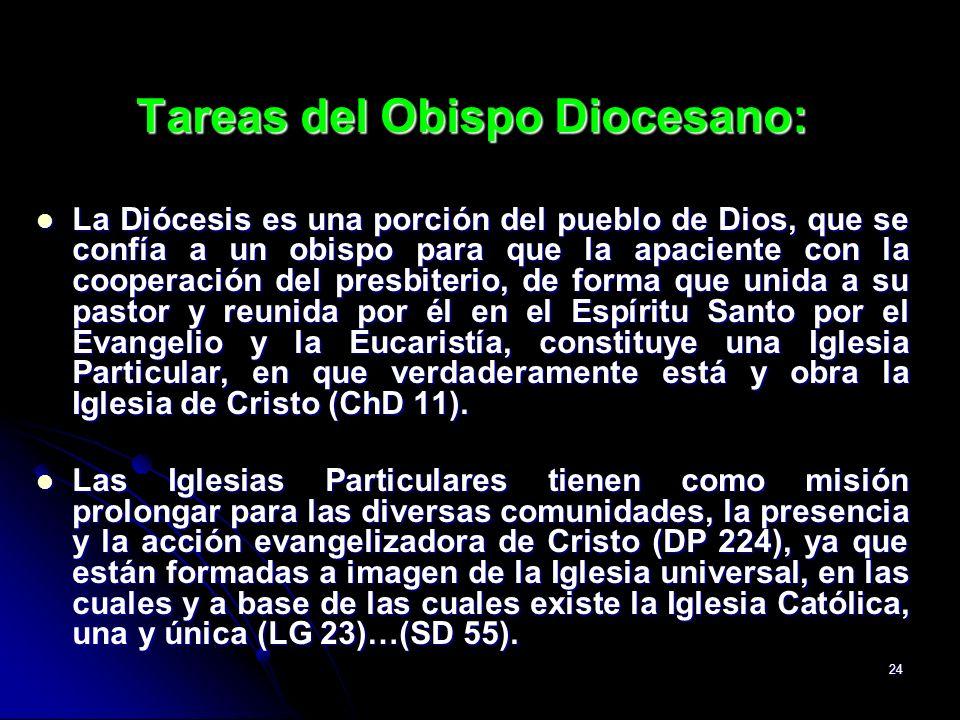 24 Tareas del Obispo Diocesano: La Diócesis es una porción del pueblo de Dios, que se confía a un obispo para que la apaciente con la cooperación del