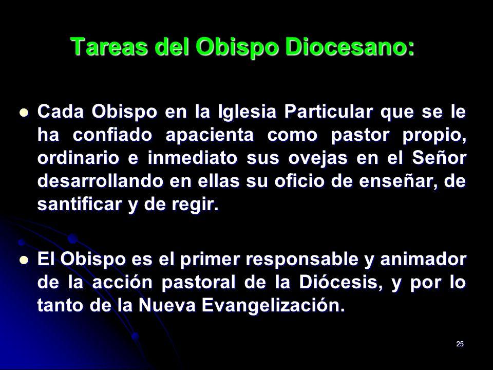 25 Tareas del Obispo Diocesano: Cada Obispo en la Iglesia Particular que se le ha confiado apacienta como pastor propio, ordinario e inmediato sus ove