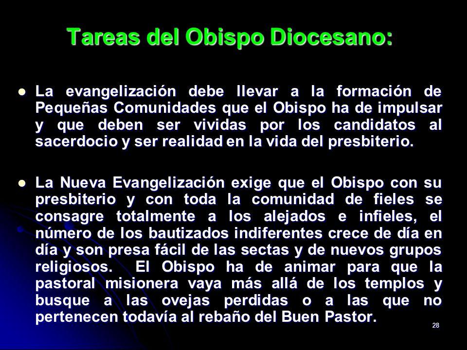 28 Tareas del Obispo Diocesano: La evangelización debe llevar a la formación de Pequeñas Comunidades que el Obispo ha de impulsar y que deben ser vivi