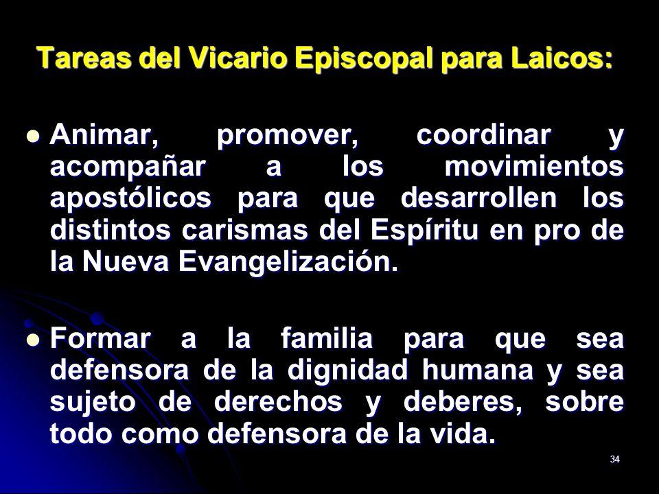 34 Tareas del Vicario Episcopal para Laicos: Animar, promover, coordinar y acompañar a los movimientos apostólicos para que desarrollen los distintos