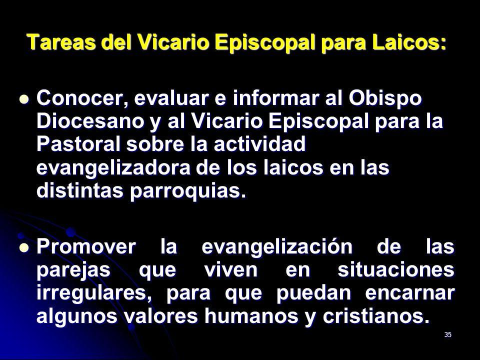 35 Tareas del Vicario Episcopal para Laicos: Conocer, evaluar e informar al Obispo Diocesano y al Vicario Episcopal para la Pastoral sobre la activida