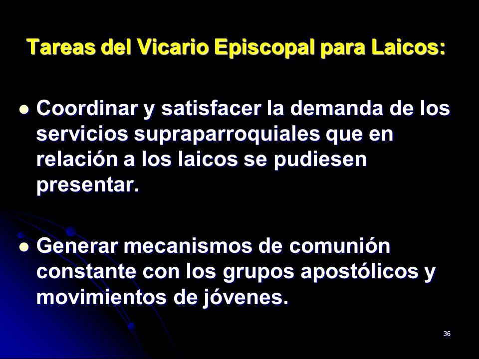 36 Tareas del Vicario Episcopal para Laicos: Coordinar y satisfacer la demanda de los servicios supraparroquiales que en relación a los laicos se pudi
