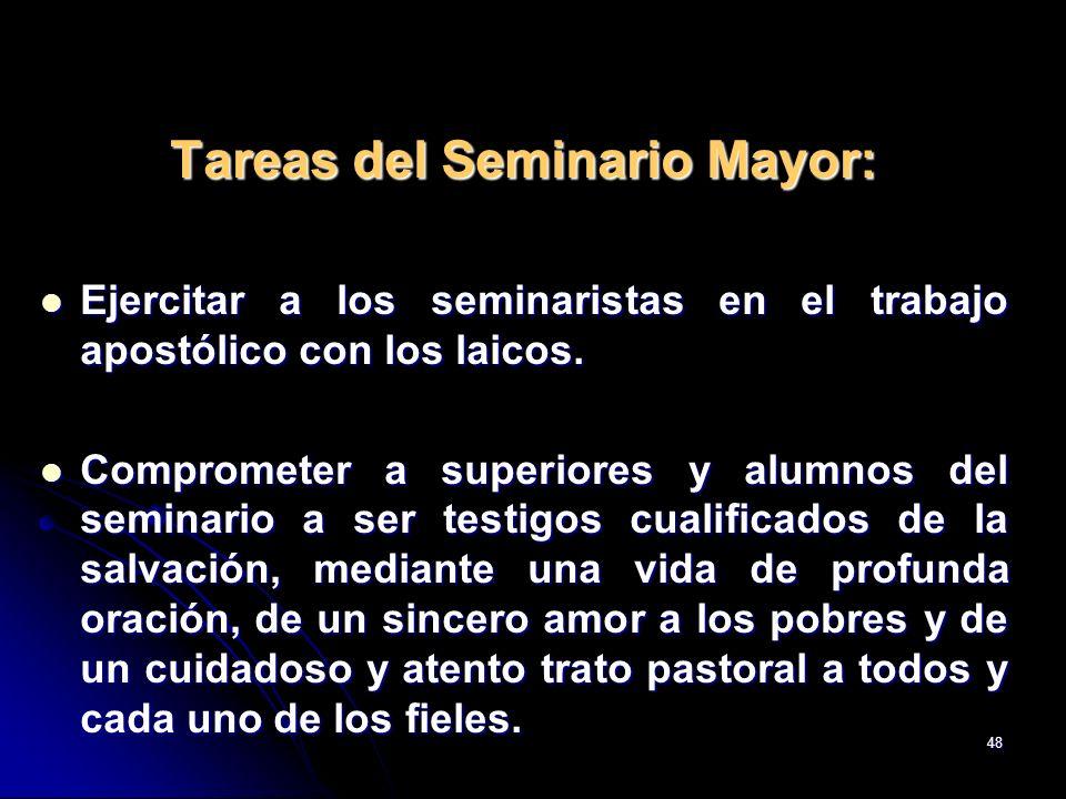 48 Tareas del Seminario Mayor: Ejercitar a los seminaristas en el trabajo apostólico con los laicos. Ejercitar a los seminaristas en el trabajo apostó