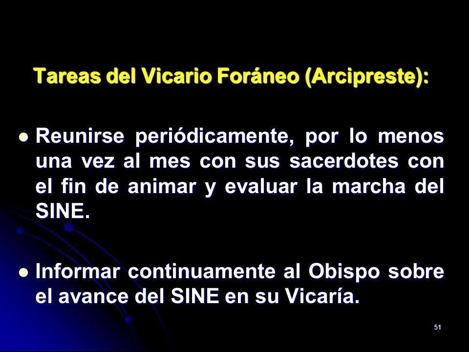 51 Tareas del Vicario Foráneo (Arcipreste): Reunirse periódicamente, por lo menos una vez al mes con sus sacerdotes con el fin de animar y evaluar la
