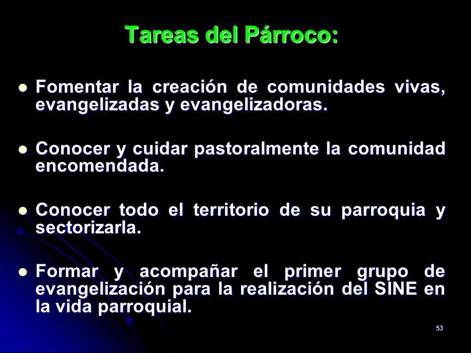 53 Tareas del Párroco: Fomentar la creación de comunidades vivas, evangelizadas y evangelizadoras. Fomentar la creación de comunidades vivas, evangeli