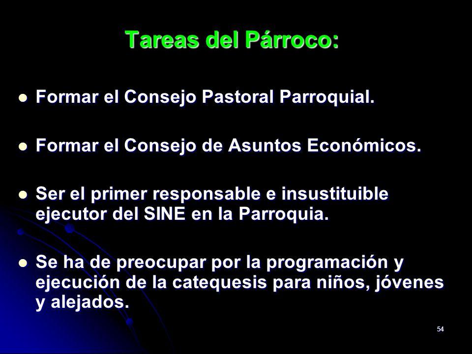 54 Tareas del Párroco: Formar el Consejo Pastoral Parroquial. Formar el Consejo Pastoral Parroquial. Formar el Consejo de Asuntos Económicos. Formar e