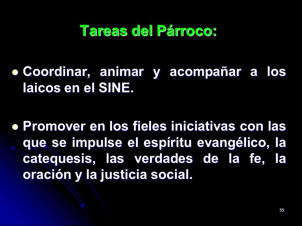 55 Tareas del Párroco: Coordinar, animar y acompañar a los laicos en el SINE. Coordinar, animar y acompañar a los laicos en el SINE. Promover en los f