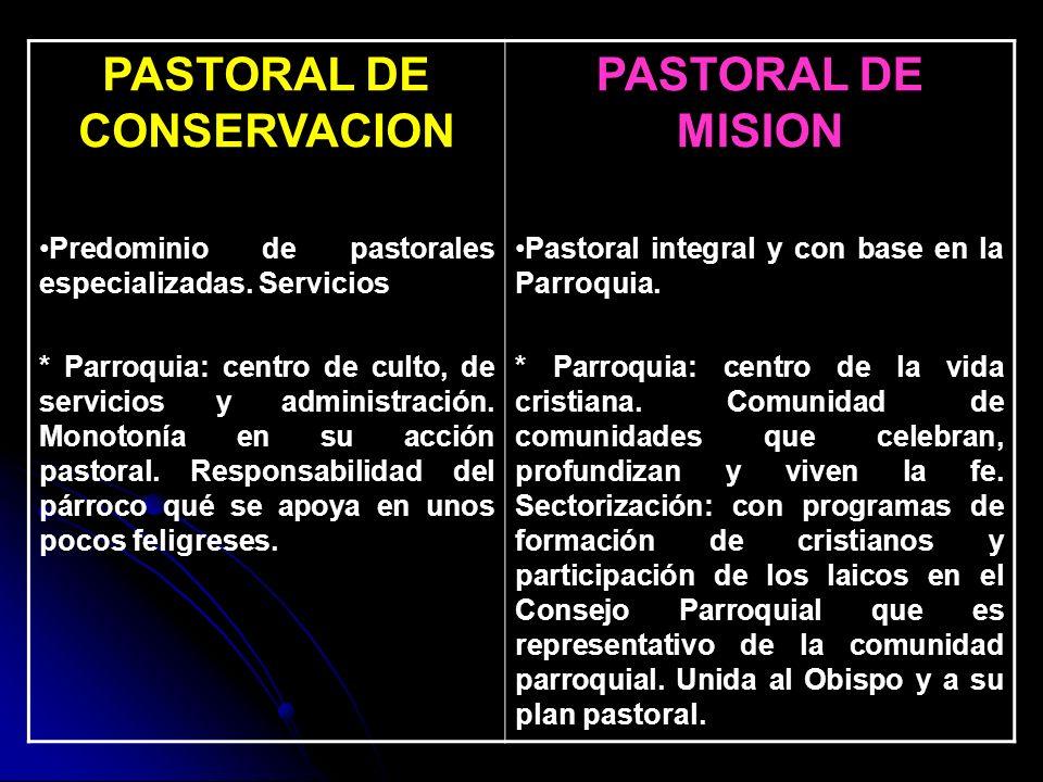 PASTORAL DE CONSERVACION Predominio de pastorales especializadas. Servicios * Parroquia: centro de culto, de servicios y administración. Monotonía en