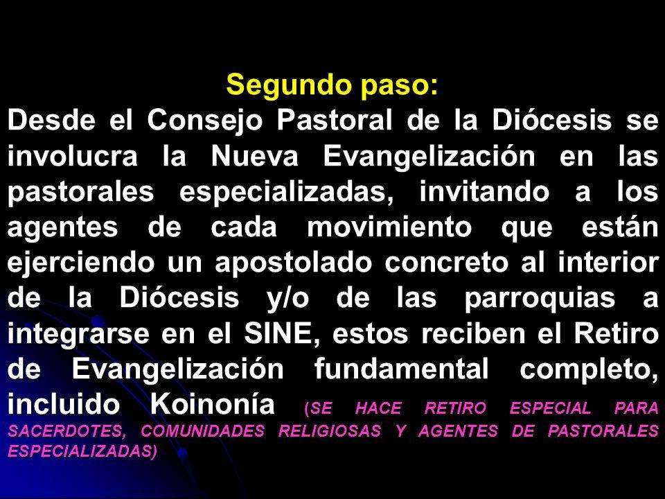 Segundo paso: Desde el Consejo Pastoral de la Diócesis se involucra la Nueva Evangelización en las pastorales especializadas, invitando a los agentes