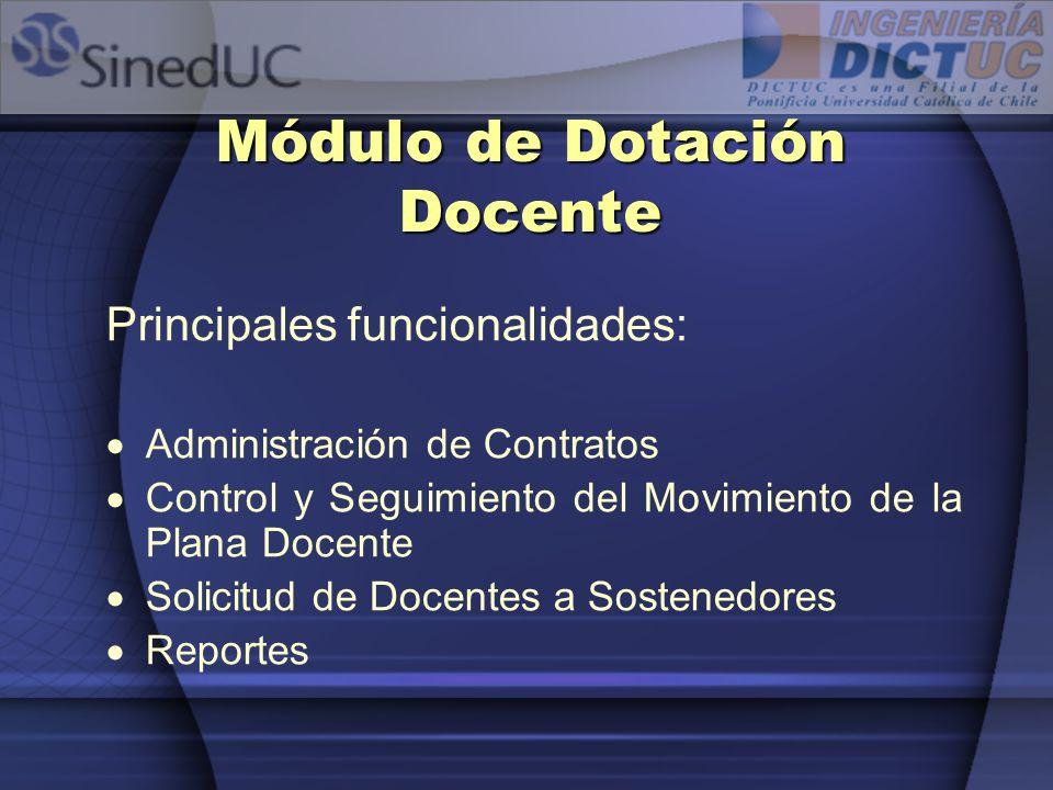 Módulo de Dotación Docente Principales funcionalidades: Administración de Contratos Control y Seguimiento del Movimiento de la Plana Docente Solicitud