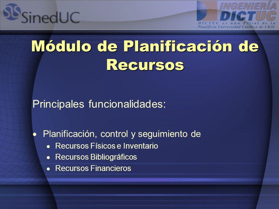 Módulo de Planificación de Recursos Principales funcionalidades: Planificación, control y seguimiento de Recursos Físicos e Inventario Recursos Biblio