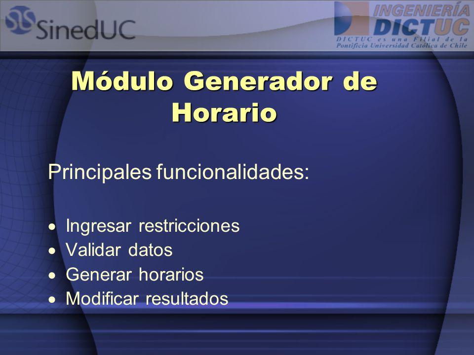 Módulo Generador de Horario Principales funcionalidades: Ingresar restricciones Validar datos Generar horarios Modificar resultados