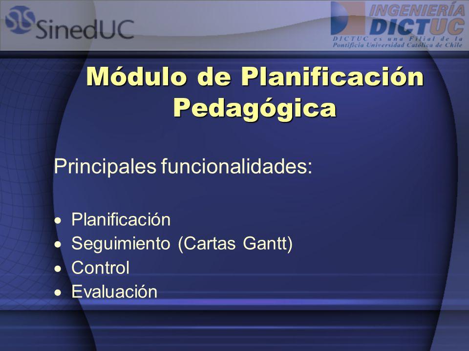 Módulo de Planificación Pedagógica Principales funcionalidades: Planificación Seguimiento (Cartas Gantt) Control Evaluación