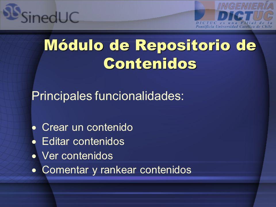 Módulo de Repositorio de Contenidos Principales funcionalidades: Crear un contenido Editar contenidos Ver contenidos Comentar y rankear contenidos