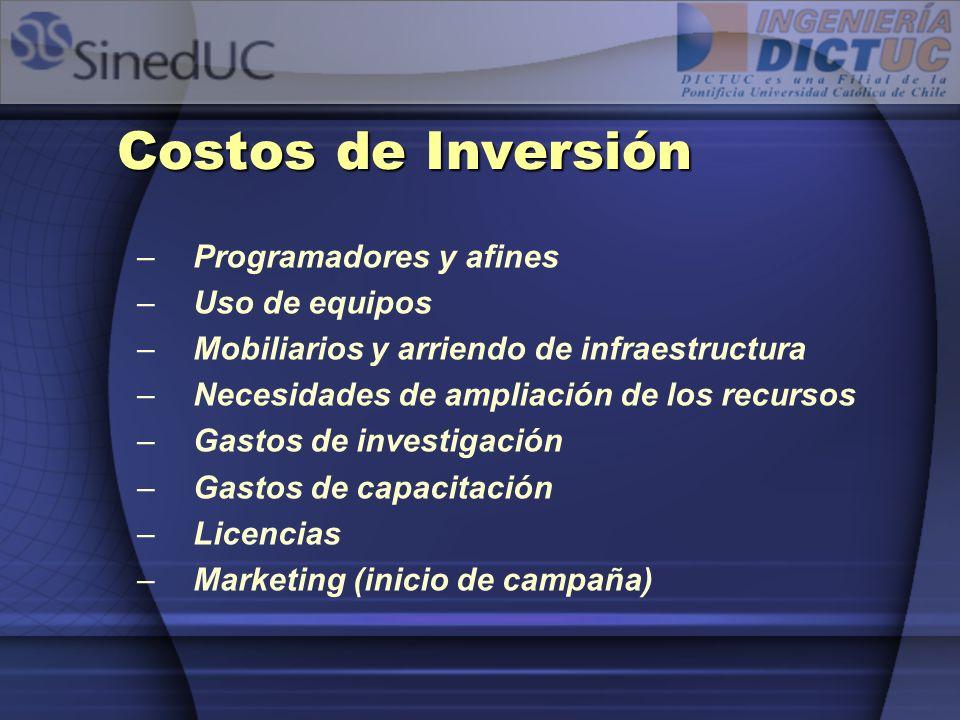 Costos de Inversión –Programadores y afines –Uso de equipos –Mobiliarios y arriendo de infraestructura –Necesidades de ampliación de los recursos –Gas