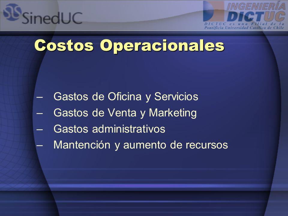 Costos Operacionales –Gastos de Oficina y Servicios –Gastos de Venta y Marketing –Gastos administrativos –Mantención y aumento de recursos