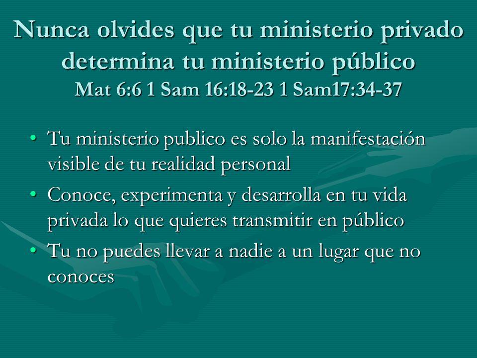 Nunca olvides que tu ministerio privado determina tu ministerio público Mat 6:6 1 Sam 16:18-23 1 Sam17:34-37 Tu ministerio publico es solo la manifest