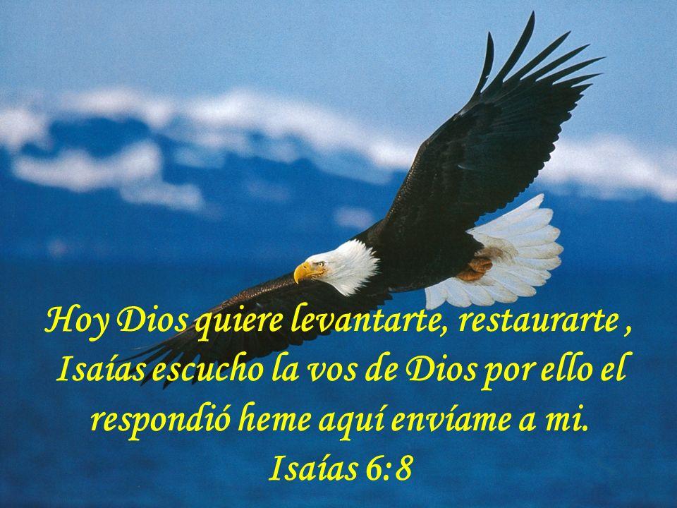 Hoy Dios quiere levantarte, restaurarte, Isaías escucho la vos de Dios por ello el respondió heme aquí envíame a mi. Isaías 6:8