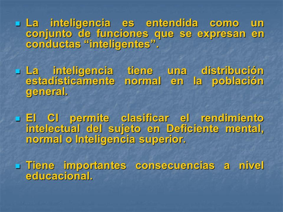 La inteligencia es entendida como un conjunto de funciones que se expresan en conductas inteligentes. La inteligencia es entendida como un conjunto de