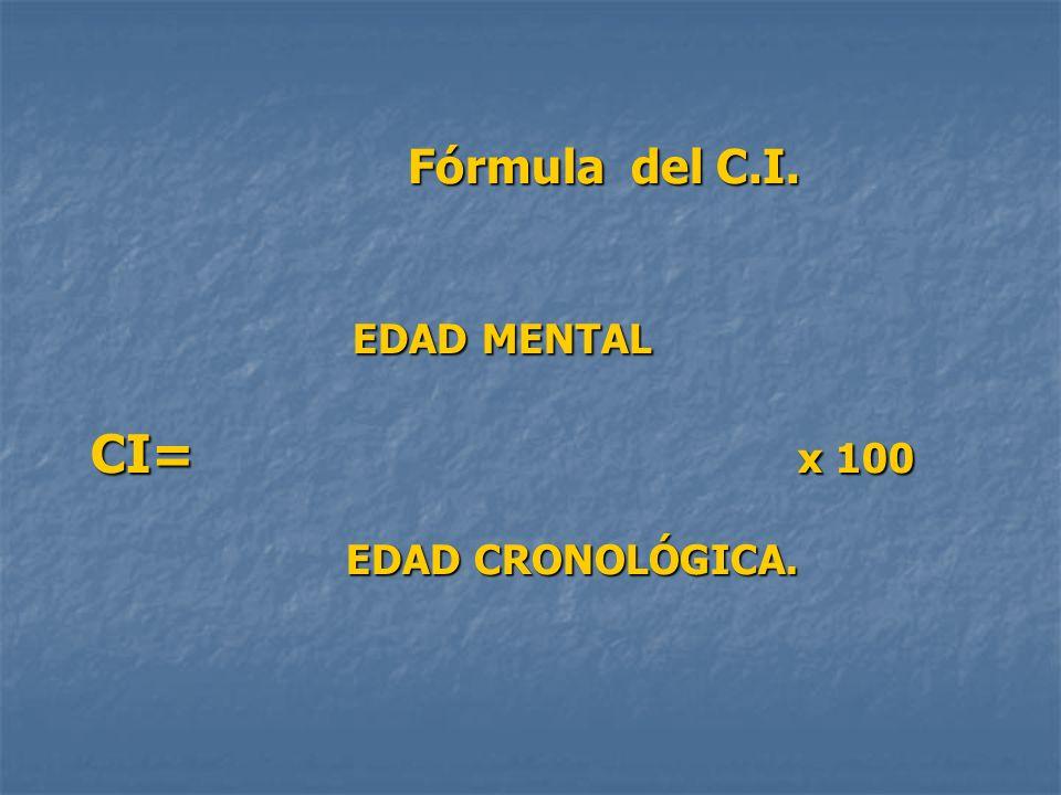 Fórmula del C.I. EDAD MENTAL CI= x 100 EDAD CRONOLÓGICA. Fórmula del C.I. EDAD MENTAL CI= x 100 EDAD CRONOLÓGICA.