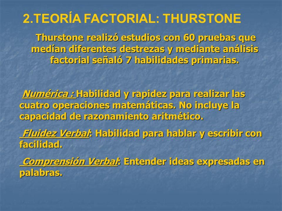 2.TEORÍA FACTORIAL: THURSTONE Thurstone realizó estudios con 60 pruebas que medían diferentes destrezas y mediante análisis factorial señaló 7 habilid