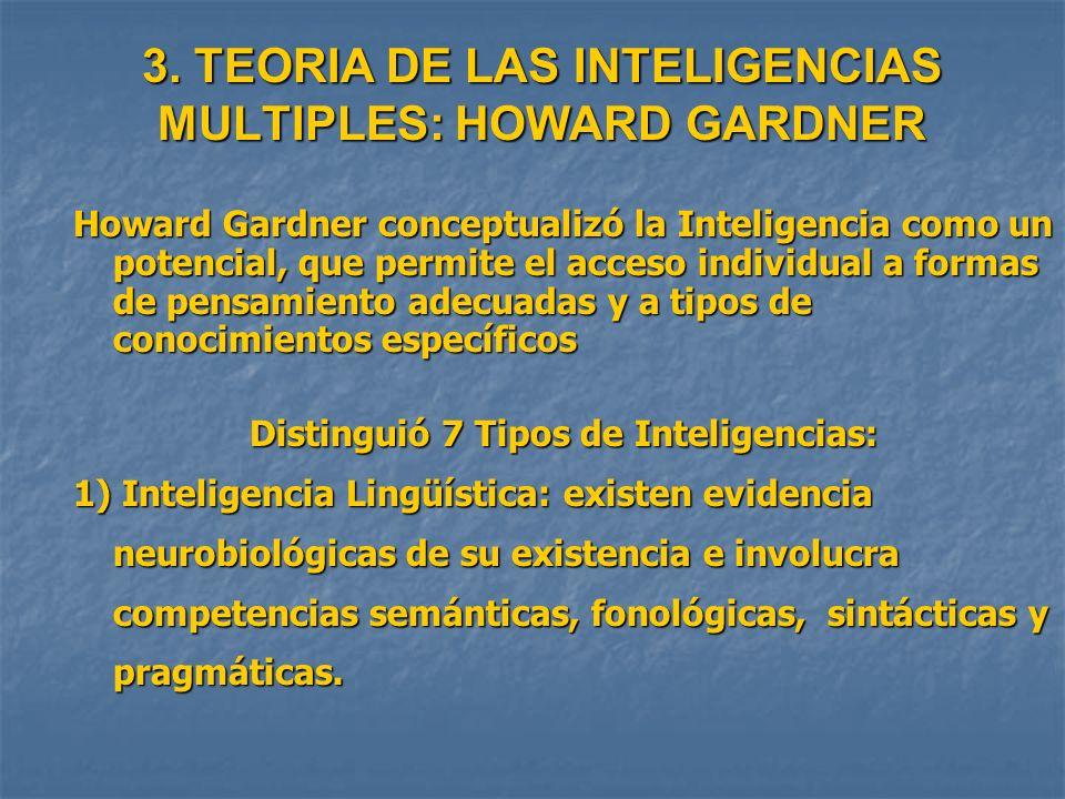 3. TEORIA DE LAS INTELIGENCIAS MULTIPLES: HOWARD GARDNER Howard Gardner conceptualizó la Inteligencia como un potencial, que permite el acceso individ