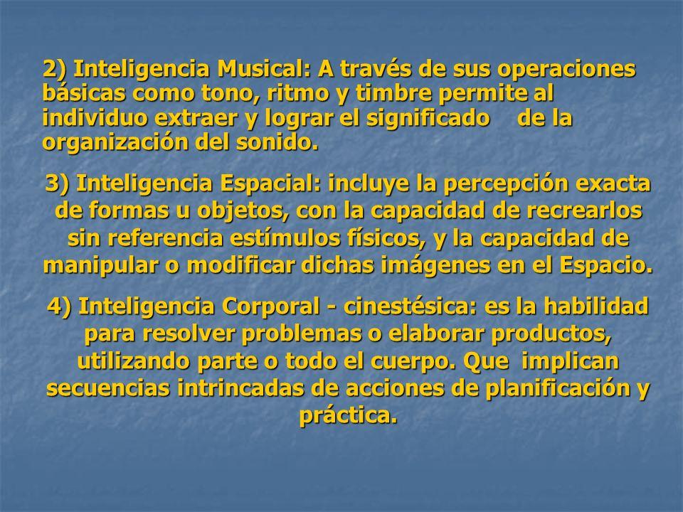 2) Inteligencia Musical: A través de sus operaciones básicas como tono, ritmo y timbre permite al individuo extraer y lograr el significado de la orga