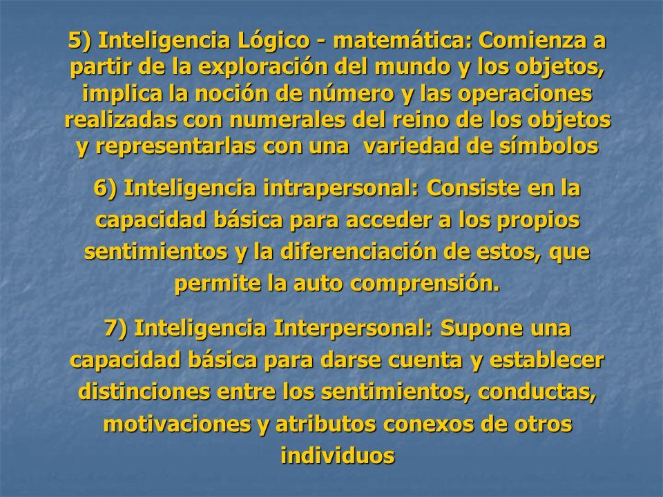 5) Inteligencia Lógico - matemática: Comienza a partir de la exploración del mundo y los objetos, implica la noción de número y las operaciones realiz