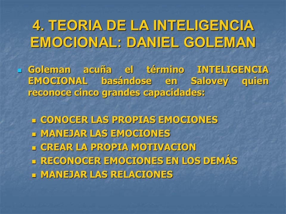 4. TEORIA DE LA INTELIGENCIA EMOCIONAL: DANIEL GOLEMAN Goleman acuña el término INTELIGENCIA EMOCIONAL basándose en Salovey quien reconoce cinco grand