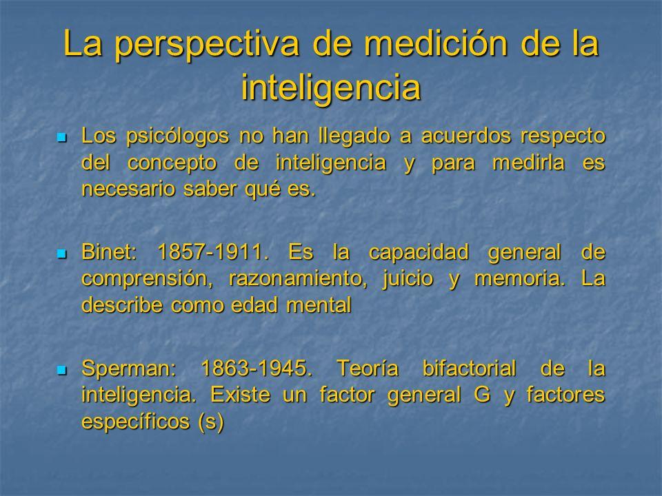La perspectiva de medición de la inteligencia Los psicólogos no han llegado a acuerdos respecto del concepto de inteligencia y para medirla es necesar