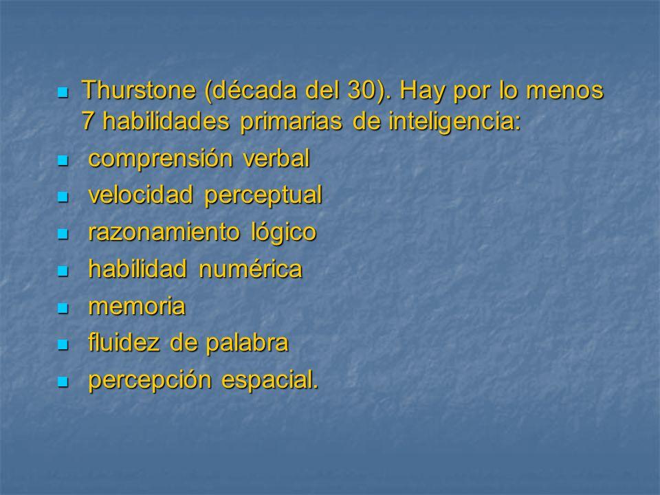 Thurstone (década del 30). Hay por lo menos 7 habilidades primarias de inteligencia: Thurstone (década del 30). Hay por lo menos 7 habilidades primari