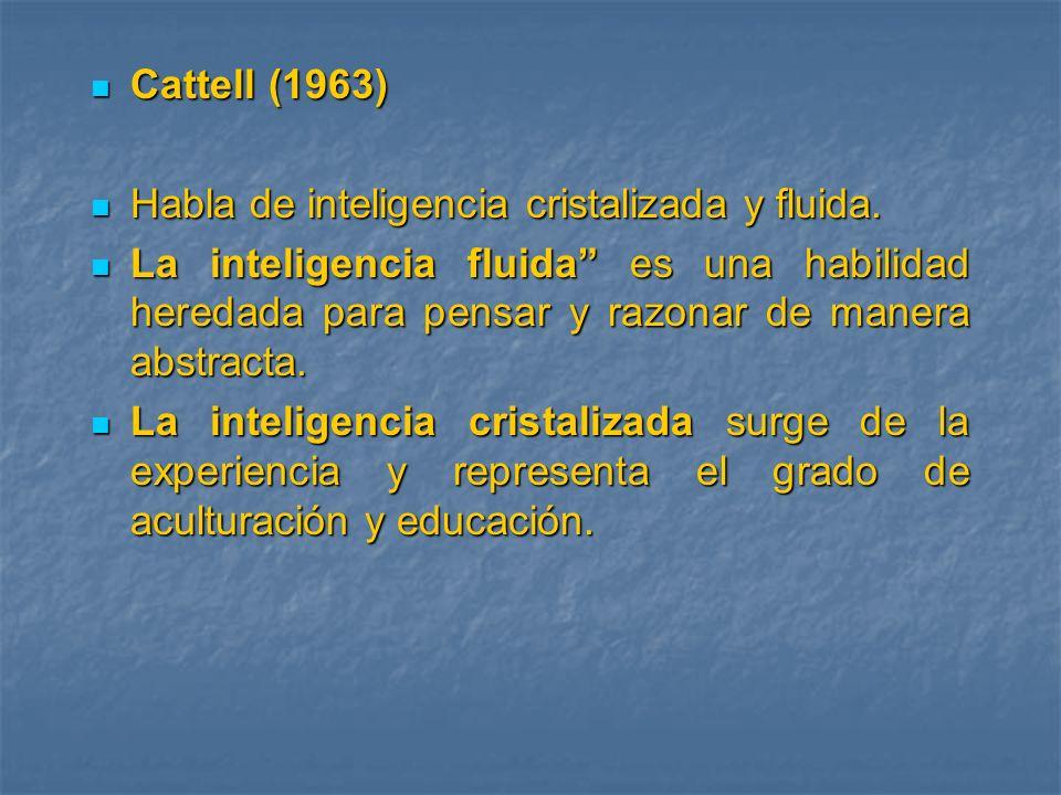 Cattell (1963) Cattell (1963) Habla de inteligencia cristalizada y fluida. Habla de inteligencia cristalizada y fluida. La inteligencia fluida es una