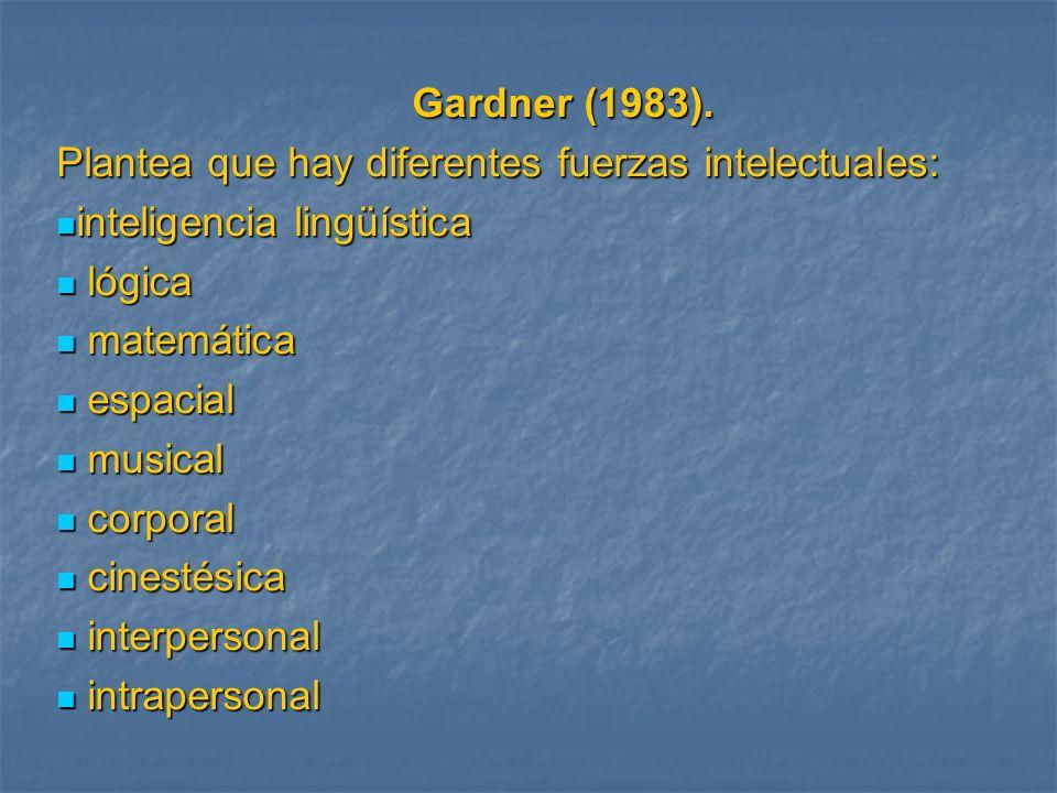 Gardner (1983). Gardner (1983). Plantea que hay diferentes fuerzas intelectuales: inteligencia lingüística inteligencia lingüística lógica lógica mate