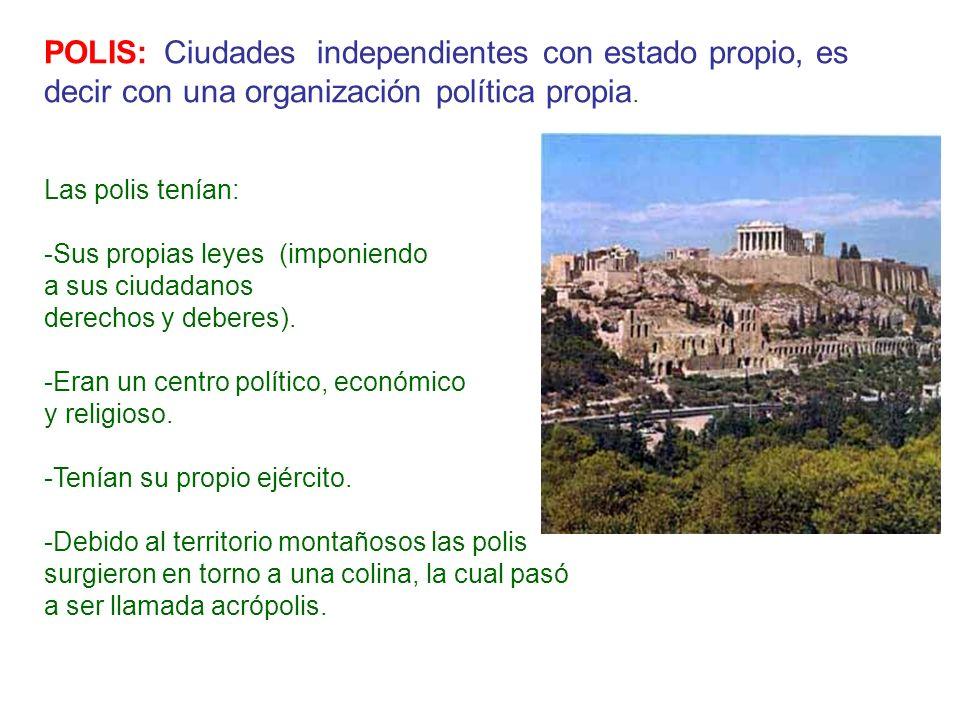POLIS: Ciudades independientes con estado propio, es decir con una organización política propia. Las polis tenían: -Sus propias leyes (imponiendo a su