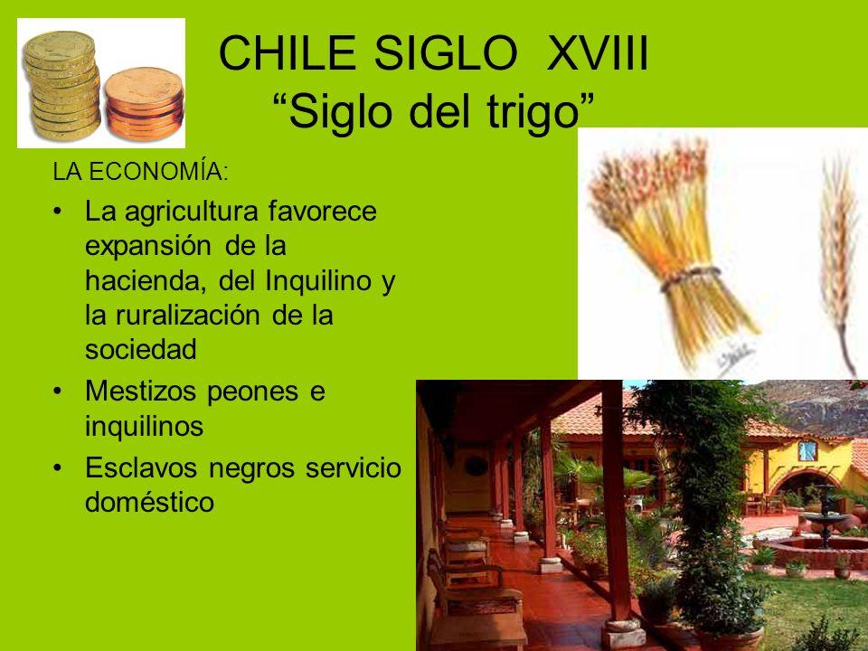 CHILE SIGLO XVIII Siglo del trigo LA ECONOMÍA: La agricultura favorece expansión de la hacienda, del Inquilino y la ruralización de la sociedad Mestiz