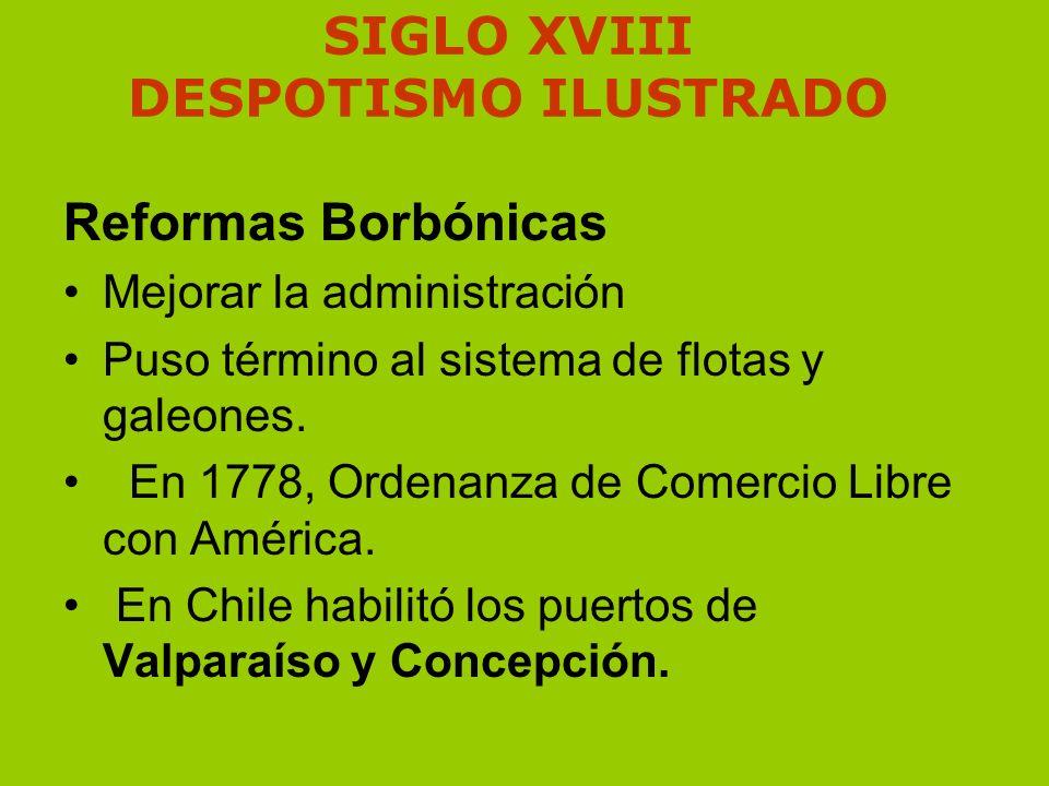SIGLO XVIII DESPOTISMO ILUSTRADO Reformas Borbónicas Mejorar la administración Puso término al sistema de flotas y galeones. En 1778, Ordenanza de Com