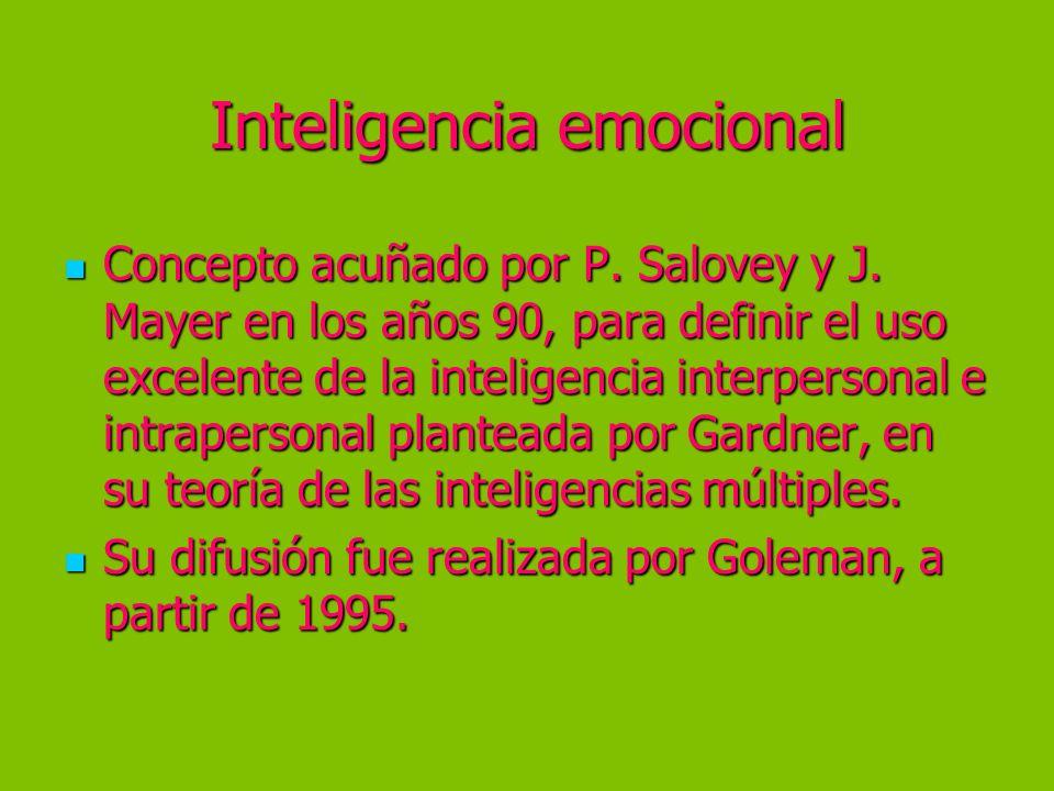 Inteligencia emocional Concepto acuñado por P. Salovey y J. Mayer en los años 90, para definir el uso excelente de la inteligencia interpersonal e int