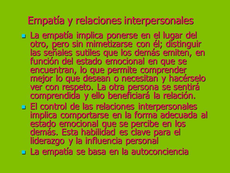 Empatía y relaciones interpersonales La empatía implica ponerse en el lugar del otro, pero sin mimetizarse con él; distinguir las señales sutiles que