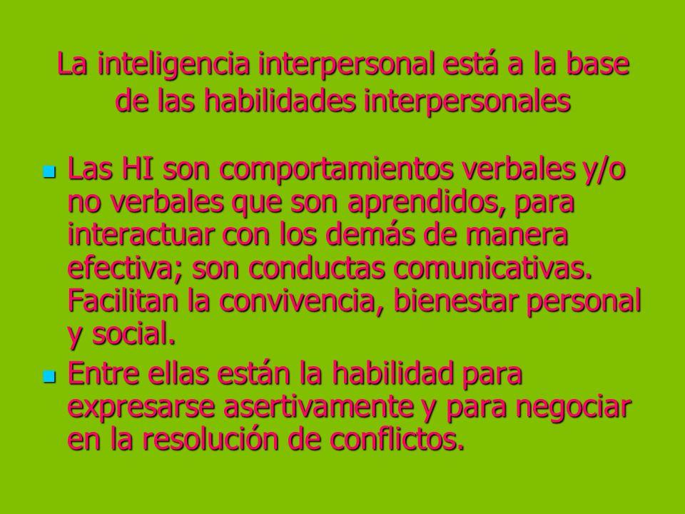La inteligencia interpersonal está a la base de las habilidades interpersonales Las HI son comportamientos verbales y/o no verbales que son aprendidos