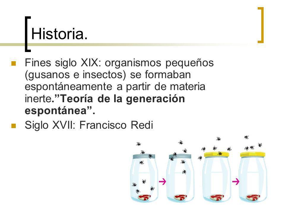 Historia. Fines siglo XIX: organismos pequeños (gusanos e insectos) se formaban espontáneamente a partir de materia inerte.Teoría de la generación esp