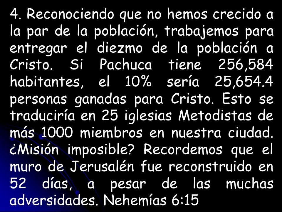 4. Reconociendo que no hemos crecido a la par de la población, trabajemos para entregar el diezmo de la población a Cristo. Si Pachuca tiene 256,584 h