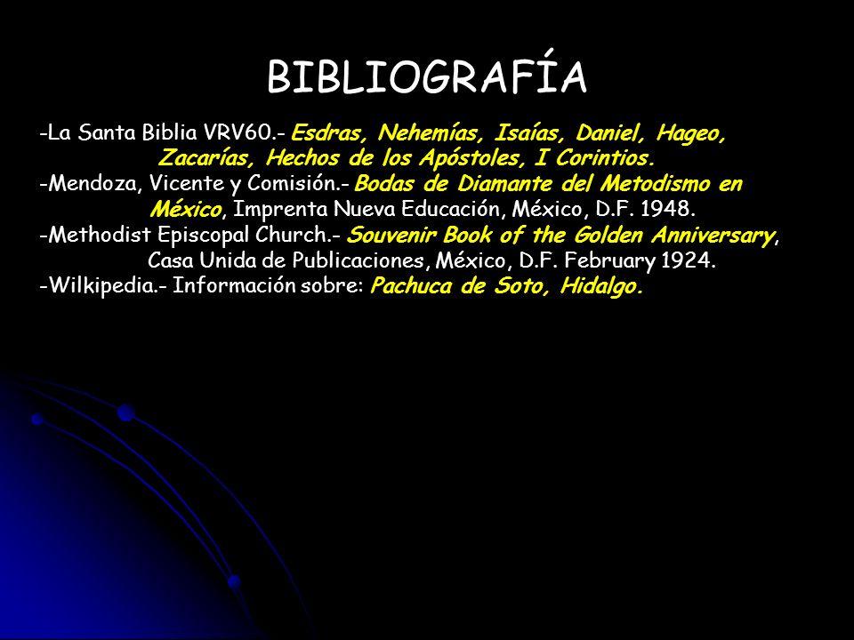 BIBLIOGRAFÍA -La Santa Biblia VRV60.- Esdras, Nehemías, Isaías, Daniel, Hageo, Zacarías, Hechos de los Apóstoles, I Corintios. -Mendoza, Vicente y Com