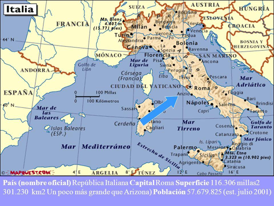 País (nombre oficial) República Italiana Capital Roma Superficie 116.306 millas2 301.230 km2 Un poco más grande que Arizona) Población 57.679.825 (est