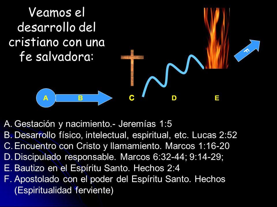 A A.Gestación y nacimiento.- Jeremías 1:5 B.Desarrollo físico, intelectual, espiritual, etc. Lucas 2:52 C.Encuentro con Cristo y llamamiento. Marcos 1