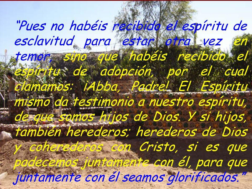 Pues no habéis recibido el espíritu de esclavitud para estar otra vez en temor, sino que habéis recibido el espíritu de adopción, por el cual clamamos: ¡Abba, Padre.