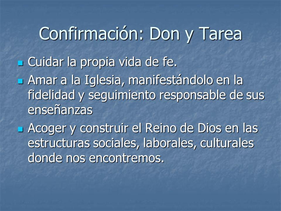 Confirmación: Don y Tarea Cuidar la propia vida de fe. Cuidar la propia vida de fe. Amar a la Iglesia, manifestándolo en la fidelidad y seguimiento re
