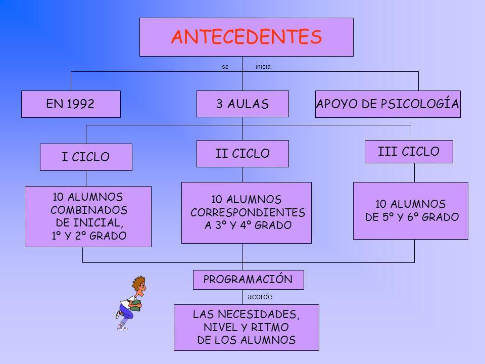 ANTECEDENTES III CICLO II CICLO 3 AULAS APOYO DE PSICOLOGÍAEN 1992 I CICLO seinicia 10 ALUMNOS COMBINADOS DE INICIAL, 1º Y 2º GRADO 10 ALUMNOS CORRESP