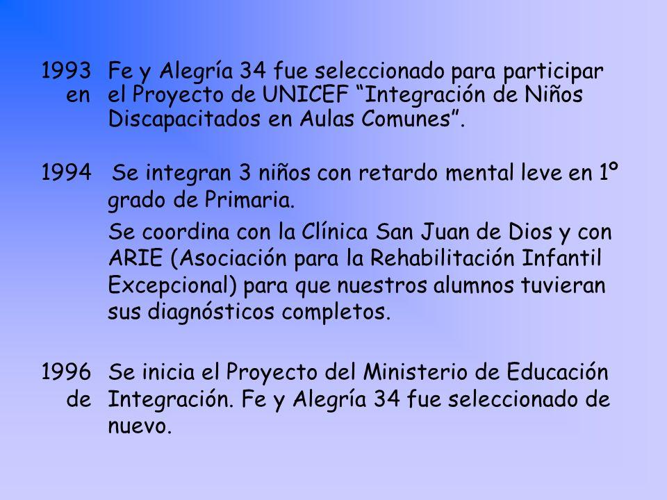 1993Fe y Alegría 34 fue seleccionado para participar en el Proyecto de UNICEF Integración de Niños Discapacitados en Aulas Comunes. 1994 Se integran 3