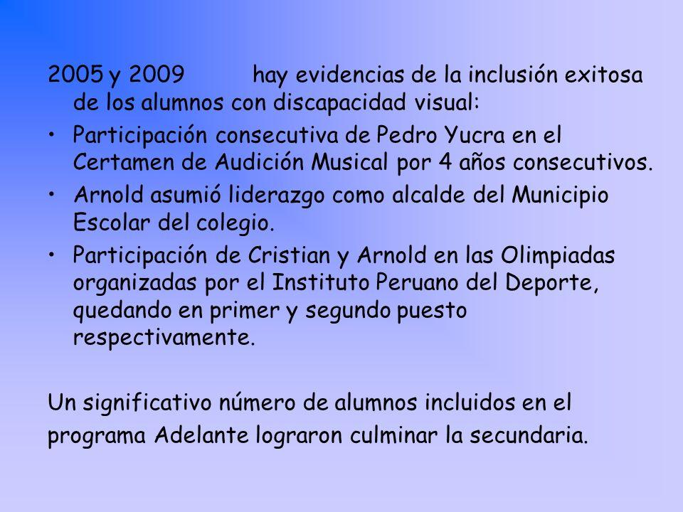 2005 y 2009 hay evidencias de la inclusión exitosa de los alumnos con discapacidad visual: Participación consecutiva de Pedro Yucra en el Certamen de