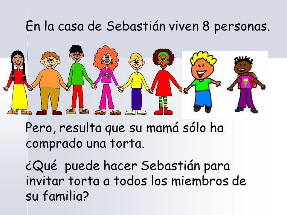 En la casa de Sebastián viven 8 personas. Pero, resulta que su mamá sólo ha comprado una torta.